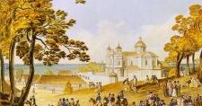 Dzielnica Antokolska oraz kościół św. Piotra i Pawła (akwarela)
