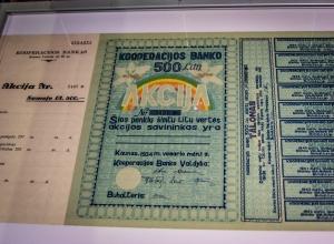 Akcja Banku Kooperacyjnego wartości 500 Lt (1934 r.)